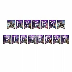 Themed Cartoons Gaming Kids Happy birthday Banners Bunting Party decorations
