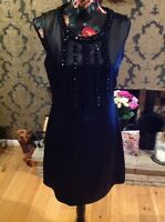 Miss Selfridge black beaded dress size 12
