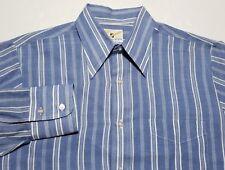 Vintage 1960s 70s B.V.D. BVD Neva-Press Blue White Stripe L/S Men's 15 1/2 Shirt