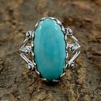 Natural Mexican Turquoise Ring - 925 Sterling Silver Handmade Ring Size 8