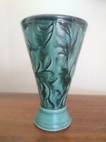 Turquoise Cone Shaped Incised Vine Leaf Pattern Clay Pottery 6.5 Inch Vase