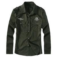 Stylish Men's Casual Business Slim Long Sleeve Army Military Shirts CS308