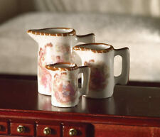 Jugs With Pictorial Design, Three Piece, Dolls House Miniatures 1.12th Scale