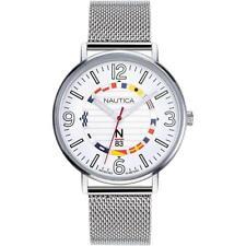 Orologio Uomo NAUTICA N83 NAPWGS905 Acciaio Mesh Bianco Bandierine