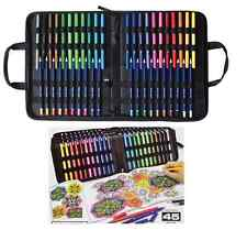 45 pc ADULT COLORING KIT in Carry Case Double Tip Markers Pencils Color Book