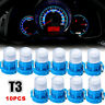 10pcs Blue T3 Neo Wedge Car LED Bulb Cluster Instrument Dash Climate Base Light