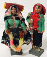 "Vtg Lot of 2 Figures Folk Art Made in Peru 5"" tall Homemade Man & Women"