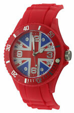 Inglaterra Union Jack Cuarzo Dial Unisex De Moda De Goma Roja
