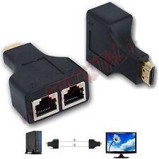 CONVERTITORE da HDMI 1080p 3D MASCHIO a RETE LAN RJ45 FEMMINA ADATTATORE MONITOR