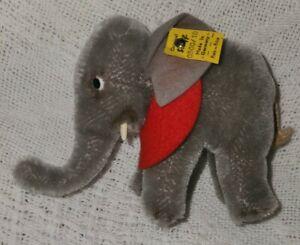 "Steiff Vintage Circus Elephant Mini, 4"" Tall, #0500/10, Tag Intact"