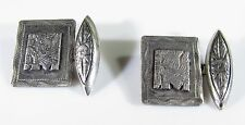 Sterling Silver Cufflinks Anitque with Mayan Tribal Deities Sun and Winged God