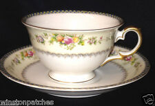 MEITO CHINA V2144 FOOTED CUP & SAUCER 8 OZ BLUE & YELLOW BORDER FLORAL SPRAYS