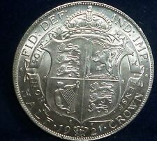 HIGH GRADE - 1921 UK HALF CROWN . KING GEORGE Silver Coin
