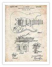 "FENDER STRATOCASTER GUITAR POSTER 1956 US Patent Art Print Poster Vintage 18x24"""