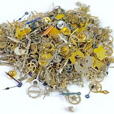 30 Grams Watch Parts Steampunk Wheels Gears Hands Stems Crowns Watchmaker Lot