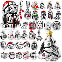 Christmas 925 Silver Charm Bead For European Sterling Bracelet Bangle Necklace