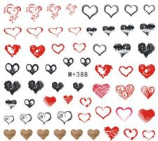 Nail Art Stickers Water Decals Transfers Valentines Black White Hearts (M+388)