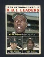 1964 Topps #11 Hank Aaron/Ken Boyer/Bill White VG/VGEX NL R.B.I. Leaders 124488