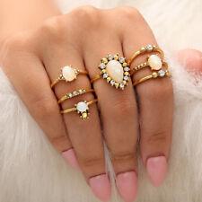 ALS_ 7Pcs Faux Opal Rhinestone Women Knuckle Finger Rings Stacking Jewelry Set U