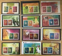 China Hong Kong 2001 - 2012 Gold  Silver S/S x 12 Full New Year Stamps Zodiac