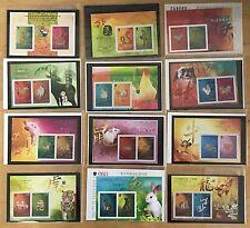 China Hong Kong 2001 - 2012 S/S Gold Silver Full New Year stamp Dragon Cock