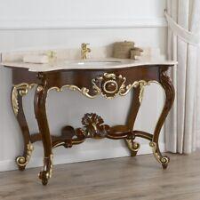 Consolle Luigi Filippo stile Barocco Inglese arredo bagno noce e foglia oro marm