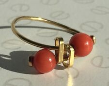 Vintage Coral Bead 14K Yellow Gold Ring UK Size O Very Thin Band