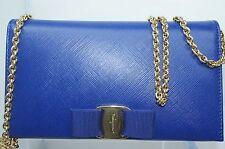 New Salvatore Ferragamo Vara Bow Chain Wallet Clutch Womens Blue Bag Crossbody