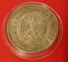 La Germania nazista 5 Marco 1935 A .900 SILVER MONETA PROT CAPS 470
