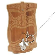 Indoor/Outdoor Bamboo Tiki Fack Hook and Ring Toss Game Set with Bottle Opener