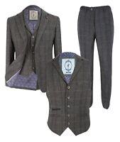 Men's Herringbone Check Tweed Peaky Blinders Grey Blazer Waistcoat Trousers