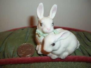 Vintage Irish Dresden Lace Porcelain Bunnies Rabbits Ireland Figurine Bunny