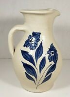 """Williamsburg Pottery Pitcher 7"""" Blue Floral"""