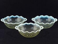 Anchor Hocking MOONSTONE Opalescent Handled Crimped Bowls - Set of 3