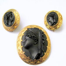 SUPERB VICTORIAN 9ct GOLD WHITBY JET JEWELLERY SUITE CAMEO BROOCH & EARRINGS