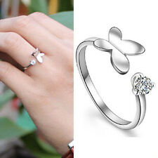 Adjustable Butterfly Shaped Silver Plated Opening Ring Crystal Rhinestone