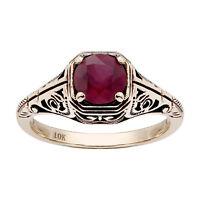 10k Yellow Gold Vintage Style Genuine Round Ruby Filigree Ring