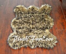 Exotic Black Tip Coyote Bearskin Rug Thick Faux Fur Suede Backing USA Handmade