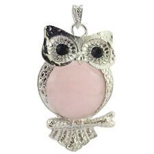 Love Owl Design Handmade Natural Rose Quartz Gemstone Silver Necklace Pendants