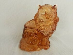 Vintage Marigold Mosser Glass Persian Fluffy  Cat Cookie Apothecary Jar Carnival