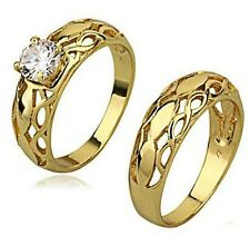 18k yellow gold filled GF CZ ring sets lover Wedding  Sz8 R-A285-8