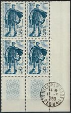FRANCE PREMIER JOUR JOURNEE DU TIMBRE 1950 BLOC DE 4 N°863 DU 11/03/1950 DE NICE