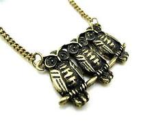Art Déco vintage emo 3 bronce pequeño collar de búho