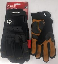 Husky Heavy Duty Goat Leather Gloves 2 Pack Large Size Touchscreen Compatible