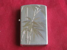 Vintage 950 Sterling Silver Lighter with Fancy Gilded Bamboo Engravings, MIB