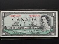 Canadian Paper Money -- Bank of Canada 1954 B/M0205573 $1 Bill