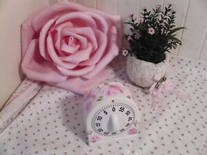 CHIC COTTAGE HAND PAINTED PINK ROSES WHITE KITCHEN TIMER BAKING DECOR