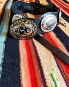Ralph Lauren Leather Concho Navajo Native American Black Belt Made in Mexico M
