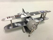 "Biplane w/Rotating Propeller, WWII MILITARY AIRCRAFT UN-M, 6.5"" Diecast,Toy Gray"
