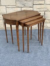 Set of 3 Baker Furniture Banded Burl Inlaid Mahogany Bamboo Nesting End Tables